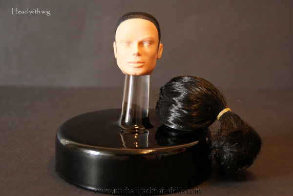 3 Michael Jackson head without paint with wig