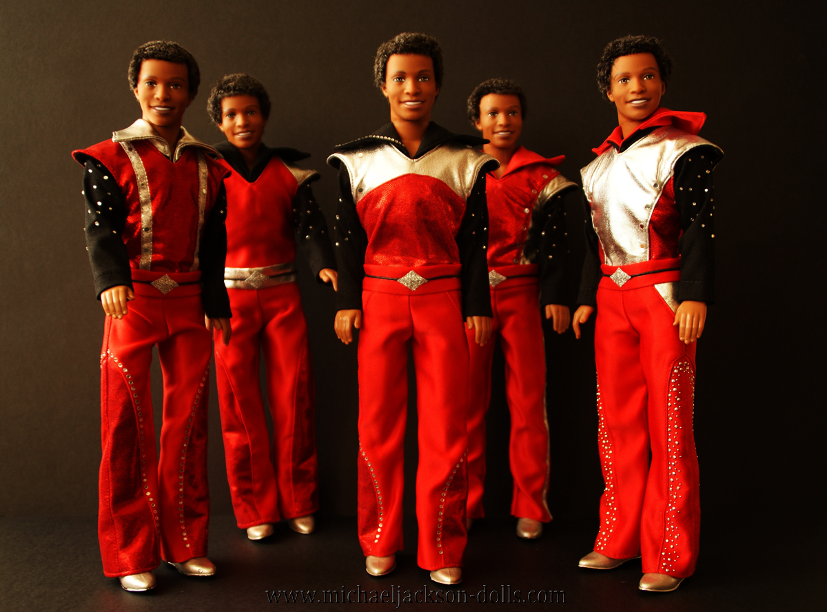 Jackson 5 dolls red silver black