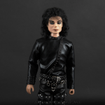 Michael Jackson doll BAD tour black outfit close up