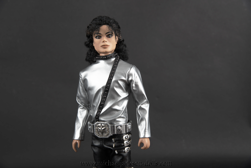Michael Jackson doll BAD tour silver outfit close up