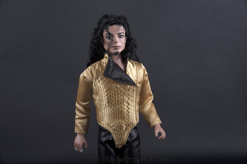 Michael Jackson doll Dangerous golden leotard close up
