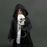 Michael Jackson doll Ghosts with cape and skull close up