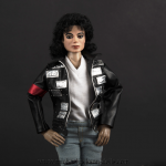 Michael Jackson doll LAgear nameplates jacket close up