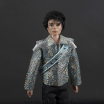 Michael Jackson doll aqua blue jacket close up