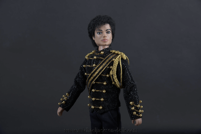 Michael Jackson doll black jacket close up