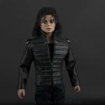 Michael Jackson doll black leather jacket close up