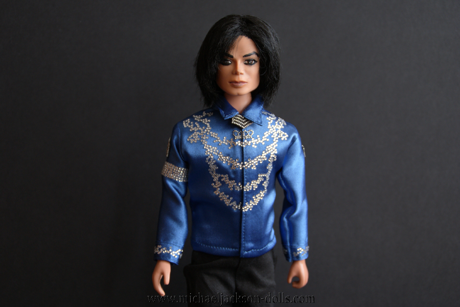 Michael Jackson doll blue blouse close up