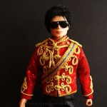 Michael Jackson doll famous red jacket close up