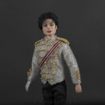 Michael Jackson doll famous white jacket close up