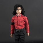 Michael Jackson doll red CTE shirt close up