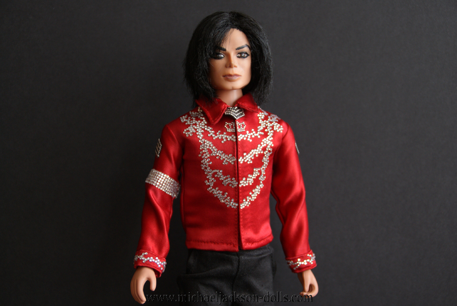 Michael Jackson doll red blouse close up